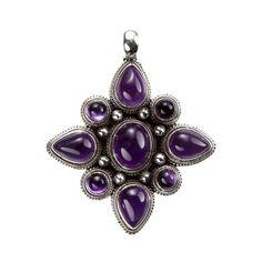 Pandantiv amuletă mandala, argint și ametist violet intens, Nepal  #metaphora #pendant #amethyst #nepal #mandala #silverjewellery #silverjewelry