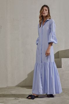 Buy Phase Eight Philomena Stripe Cotton V-Neck Shirt Dress, Blue/Ivory from our Women's Dresses range at John Lewis & Partners. Muslim Fashion, Hijab Fashion, Fashion Dresses, Modelos Fashion, Casual Dresses, Summer Dresses, Tunic Dresses, Zara Shirt, Daily Dress