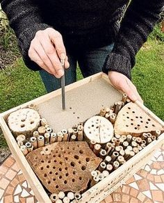 A step-by-step guide for building a solitary bee house. How to make a solitary bee hotel. Attract bees to your garden with this easy-to-make container Bug Hotel, Garden Crafts, Garden Projects, Garden Ideas, Craft Projects, Mason Bees, Bee House, Birds And The Bees, Save The Bees