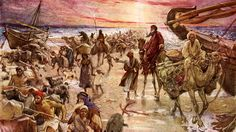 """The Passage of the Red Sea --crossing of the Reed Sea. Exodus 14:16 """"but lift thou up thy rod, and stretch out thine hand over the sea, and divide it: and the children of Israel shall go on dry ground through the midst of the sea."""" (Illustration by William Hole 1846 - 1917)"""