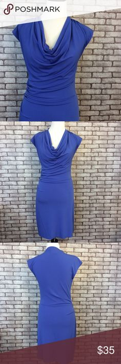 "Michael Kors dress This is a great dress, gently used, good condition. One sm. Part where the top seem has started to come undone a little, but the bottom stich is in tact. It's a form fitting dress, has side rushing. 94% polyester, 6% spandex, machine wash. 36 1/2"" long, 15 1/2"" bust laying flat, 16"" hip laying flat, 13 1/2"" waist laying flat. No rips stains or pilling. ⭐️ no trading or modeling ⭐️ Michael Kors Dresses Midi"