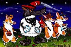 PEMBROKE WELSH CORGI SIGNED ART PRINT DOG SHEEP COSTUME  HALLOWEEN VALERIE BROCK