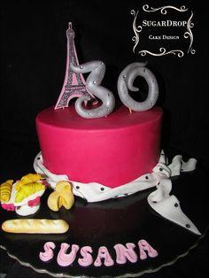 Bolo Paris baguete croissant torre eiffel