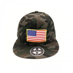 Camouflage Army cap with USA flag