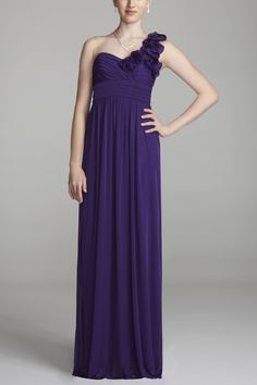i like this but without the flower on the shoulder...  just a normal one shoulder purple gown
