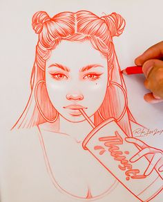 Elegant pulse: the red drawings by Rik Lee. Elegant pulse: the red drawings by Rik Lee. Girl Drawing Sketches, Cool Art Drawings, Pencil Art Drawings, Easy Drawings, Tumblr Sketches, Doodle Drawings, Cartoon Kunst, Cartoon Art, Rik Lee