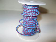 Leather bolo cord, 20 yards of a sky blue and fuchsia color......3 mm size