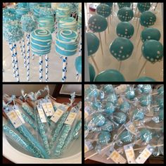 Cake pops ,marshmallow pops and pretzels cover in chocolate  baby baptism ideas ! Also design tag :)