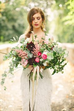 Wild Pink and Burgundy Bouquet | Paula O'Hara Photography