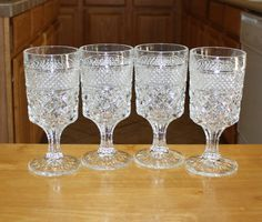 Gorgeous, Vintage Anchor Hocking, Wexford Crystal Water Goblets, Set of 4 Glasses