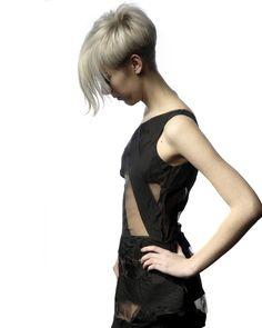 blonde pixie long bangs short back