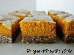 Raw Pumpkin Cheesecake Bars with Gingerbread Crust from Fragrant Vanilla Cake