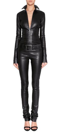 Black Leather Belted Kill Jumpsuit  JITROIS