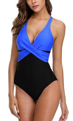 4d460891c7 Womens Tummy Control One Piece Swimsuit Front Cross Colorblock Bathing Suit  - Royal-black - C3185XO6TXR