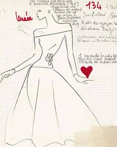 Yves Saint Laurent Sketch for a wedding dress, Fall 1988