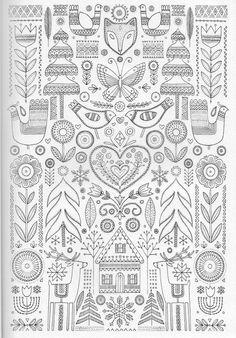Scandinavian Coloring Book Pg 21 Birds Coloring Pages Coloring Book Pages, Printable Coloring Pages, Folk Embroidery, Embroidery Patterns, Scandinavian Folk Art, Scandinavian Embroidery, Mandala Coloring, Colouring, Motif Floral