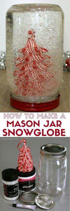 Mason Jar Snow Globe | Christmas Scene | Holidays | Handmade Gift | Secret Santa | Ball® Brand Jars | Easy DIY Craft Tutorial Idea | Gift Giving | #ad @BallCanning