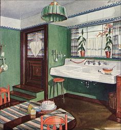 Published in American Home as an ad for Crane plumbing fixtures. The kitchen ads are published about 20% as often as the bathroom ads, so finding them ... especially the good ones ... is a little more challenging.