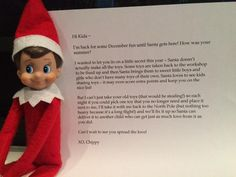 **GENIUS** Not my idea, but I want to remember this one to discuss with our elf next year!! Elf on A Shelf Toy Return encourages Charity in Kids and Also lightens the Toy Chest before the influx of toys they receive on Christmas!