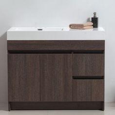 Eviva Beach 39 Inch Grey Oak Bathroom Vanity Set with Integrated for sale online Discount Bathroom Vanities, Rustic Bathroom Vanities, Single Sink Bathroom Vanity, Bathroom Furniture, Modern Bathroom, Hall Bathroom, Rustic Vanity, Modern Vanity, Wood Vanity