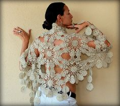 Blossoms of Spring / Crochet Champagne Wedding Bridal Shawl Wrap / Flowers Stole-Spring Bridesmaid Lace Fashion. $145.00, via Etsy.