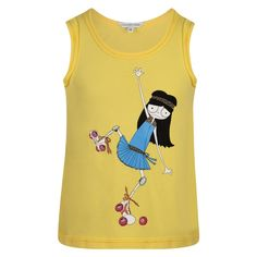 Little Marc Jacobs Girls Yellow Top with Roller Skating Girl Print