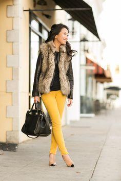 Camel/mocha fur best with dark top and mustard denim, high heels and dark purse. https://s-media-cache-ak0.pinimg.com/236x/20/15/0f/20150f7b1d06a863815dacb986a734c7.jpg