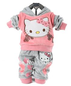 RETAIL baby 2piece suit set tracksuits Girl's Hello Kitty clothing sets velvet Sport suits hoody jackets +pants $11.07 - 11.77