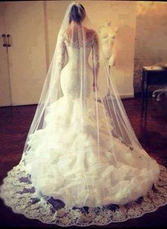 Prom Dress Beautiful, Honorable Scalloped-Edge Sweep Train Long Sleeves Mermaid Wedding Dress with Lace Top Frenze Bridal Lace Mermaid Wedding Dress, Gorgeous Wedding Dress, Mermaid Dresses, Beautiful Dresses, Dress Lace, Mermaid Gown, Wedding Robe, Wedding Gowns, Lace Wedding