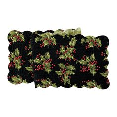 """April Cornell Christmas Holiday Quilted 70"""" Table Runner Holly Black Plaid"""