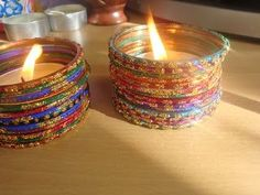bangles as decor :) Love these fun Tlights made with bangles for the mehendi! #IndianWedding #Decor #ideas | photo Source: Blingsparkle.com | Curated by #WittyVows - The ultimate guide for the Indian Bride | www.wittyvows.com