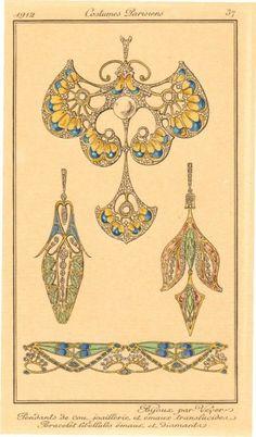 ORIGINAL FRENCH ENGRAVING 1912 ART NOUVEAU JEWELRY | eBay
