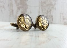 """★★★★★ """"I loved the packaging and my husband loved the cuff links. We now have to go out and buy more business shirts so he can wear them more often! Bronze Gifts, Wedding Cufflinks, Business Shirts, Husband Love, Steampunk Fashion, Wedding Anniversary, Handmade Items, Men's Jewellery, Jewelry"""