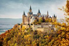 German Castle Hohenzollorn in autumn.