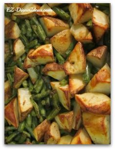 "Easy Healthy Side Dish Roasted Potatoes Green Beans A Healthy Filling Dinner, Too  Ingredients  1 pound Frozen Cut Green Beans (unthawed) 1 pound Russet potato (skin on; wash thoroughly; cut in bite size wedges, about 1"" per side)   Seasonings  1 teaspoon Salt 1/4 teaspoon Black Pepper 1 pinch Crushed Red Pepper (optional) 1/4 cup Extra Virgin Olive Oil"