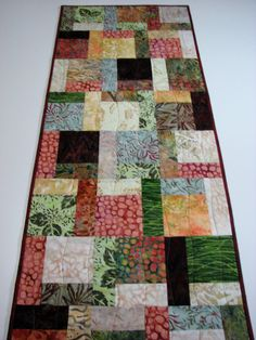 Quilted Table Runner  Autumn Batik Patchwork by VillageQuilts