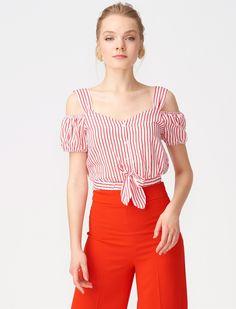 Dilvin - Dılvın Kırmızı Kadın Bluz/Gömlek Kırmızı Önden Bağlamalı Çizgili Mini Bluz A