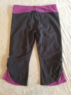 Athleta Large petite Crops Pants Grey Purple Yoga Running Workout Womens #Athleta #PantsTightsLeggings