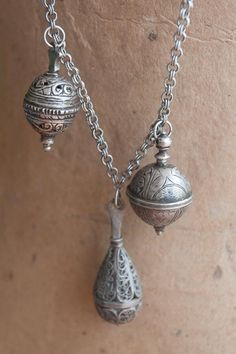 Set of 3 antique silver Berber ambergris or perfume amulets from Morocco - by Angela Lovett Designs