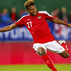 David Alaba, DF, Bayern Munich and Austria: No. Best Jersey, Christian Pulisic, Messi And Ronaldo, European Championships, Workout Rooms, Red Shirt, Soccer Players, Austria, Fifa App
