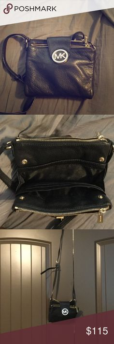 Black leather Michael Kors cross body Gently used Michael Kors cross body. Two side zippers, pockets on the inside, adjustable strap and snaps magnetically to close. Michael Kors Bags Crossbody Bags
