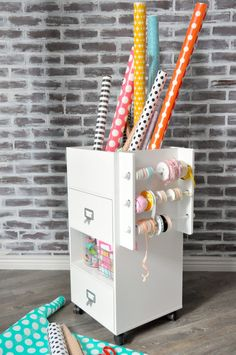 Kara's Party Ideas Wrapping Paper Station | Organizing the New Year | Kara's Party Ideas