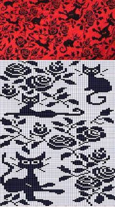 cats and roses - pattern for knitting, crochet and embroidery -- Картинка