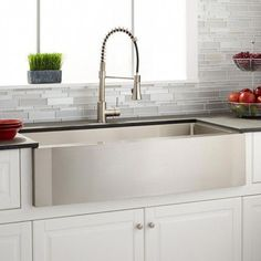 Buy the Signature Hardware 422164 Stainless Steel Direct. Shop for the Signature Hardware 422164 Stainless Steel Atwood Offset Double Basin Stainless Steel Farmhouse Sink and save. Kitchen Sink Faucets, Kitchen Fixtures, Apron Sink Kitchen, New Kitchen, Kitchen Decor, Kitchen Ideas, Awesome Kitchen, Cheap Kitchen, Decorating Kitchen