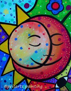 Mexican Sun and Moon Couple Luna Sol Original Painting Folk Art Flowers PRISARTS #Abstract