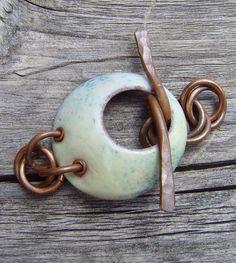 Enameled handmade  copper toggle by islandgirl on Etsy, $11.00