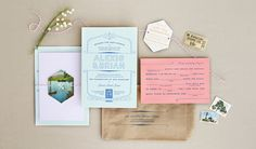 wes anderson inspired wedding invitation