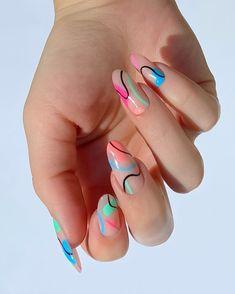 Frensh Nails, Edgy Nails, Funky Nails, Stylish Nails, Trendy Nail Art, Neon Nails, Classy Nails, Funky Nail Art, Colorful Nail Art