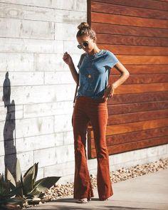 Peace + Love Corduroy Bell Bottom Pants – Brick - New Sites Hippie Outfits, Fall Outfits, Casual Outfits, Cute Outfits, Bell Bottom Pants, Bell Bottoms, 70s Inspired Fashion, Boho Fashion, Fashion Outfits