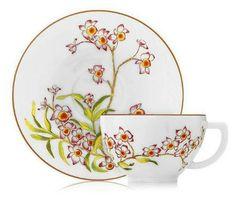 Hermes by Veronique de Mareuil (designer for la table Hermes), Jardin des Orchidees, tea cup and saucer, also comes in teapot, cream and sugar, etc. . . .. tea set option
